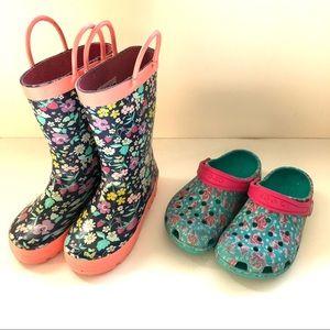 Girls RainBoots/Crocs Lot Size 10